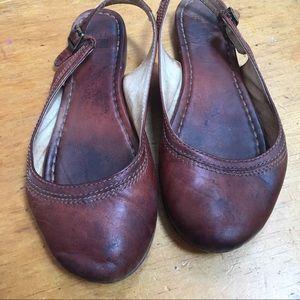 Frye slingback flats brown leather 6